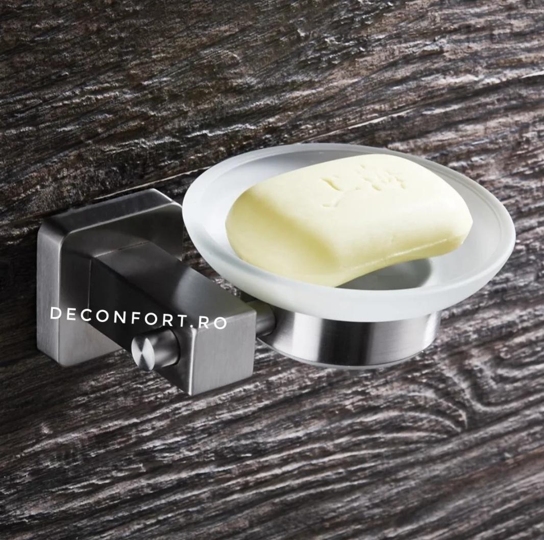 Suport sapun inox periat cu farfuriuta sticla mata gama SATIN rectangular