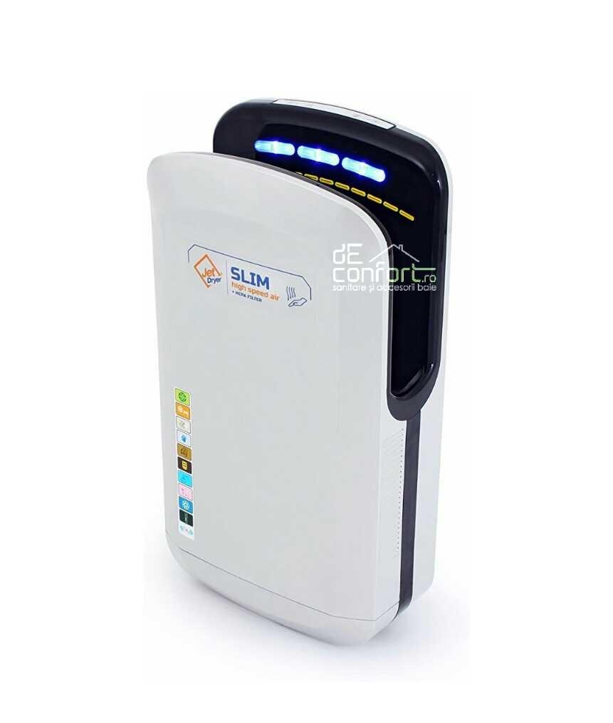 Uscator senzor maini JetSlim 1800W gri filtru hepa uscare rapida aer