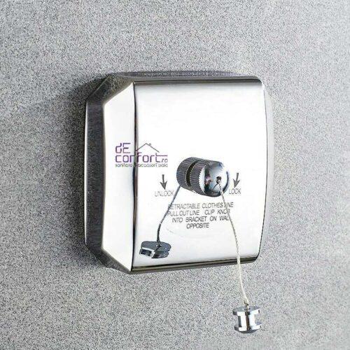 Uscator suport retractabil pentru rufe cu sfoara 2.5m rectangular cromat
