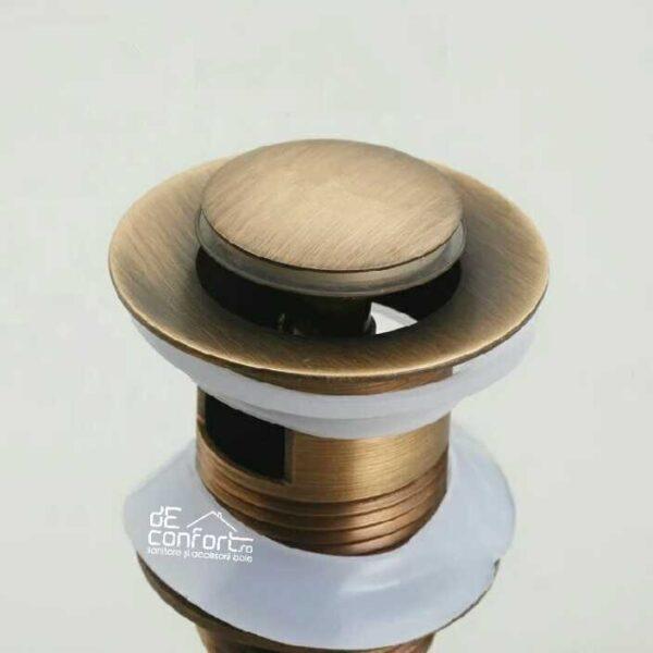 Ventil scurgere chiuveta bronz antichizat quick-clack cu dop mic