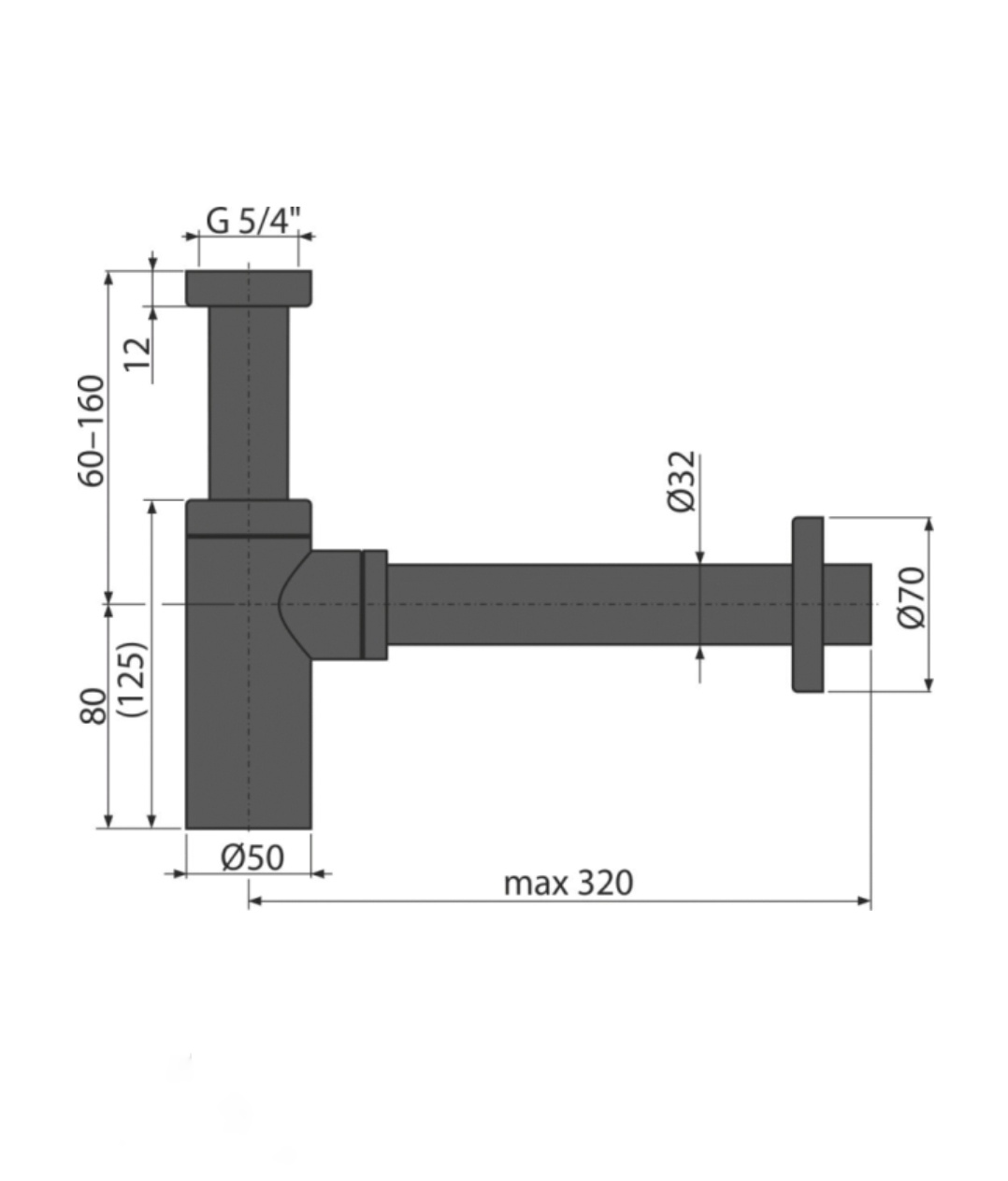 Sifon scurgere lavoar metalic negru DN32