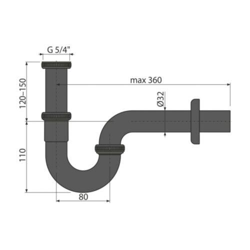 Sifon lavoar metalic U negru mat DN32
