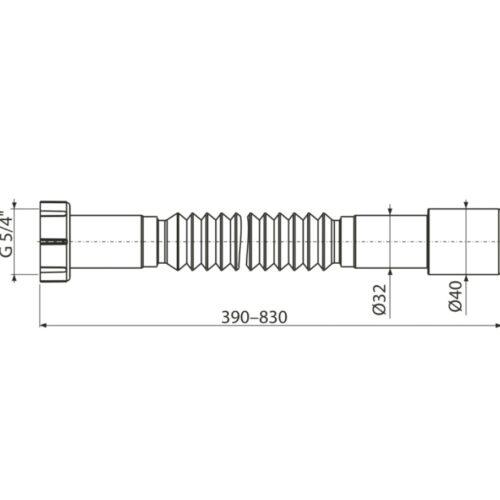 Sifon flexibil evacuare lavoar piulita 5/4 racord 32/40