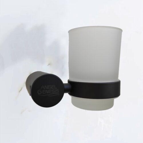 Suport pahar baie negru sticla mata AGS pentru periuta