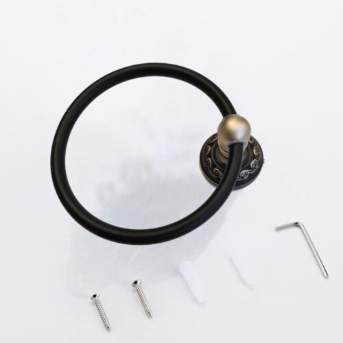 Inel suport prosop baie negru auriu AGS1 antichiazat