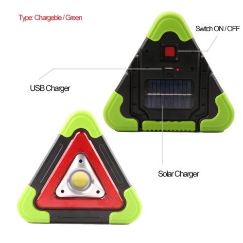 Triunghi lampa semnalizare LED portabila solara 4 functii