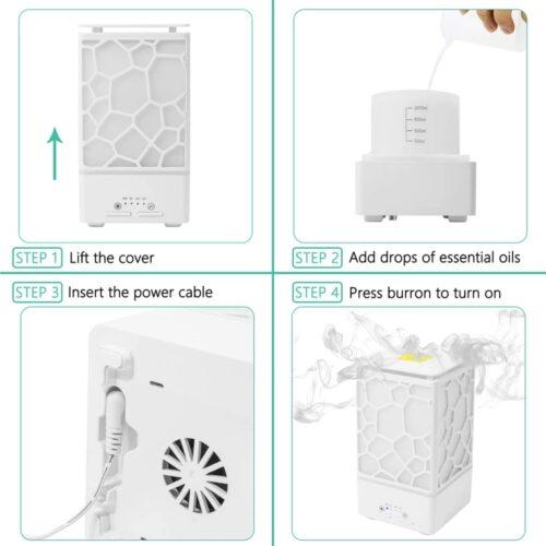Umidificator difuzor aroma esență Water Cube alb lumina led