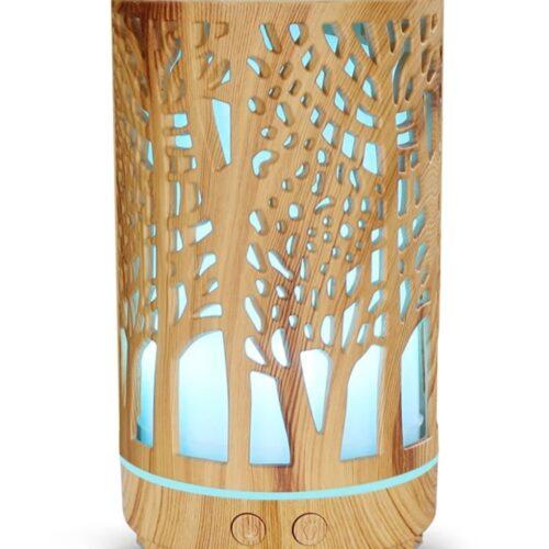 Difuzor uleiuri esențiale aromaterapie Wood Tower lumina led