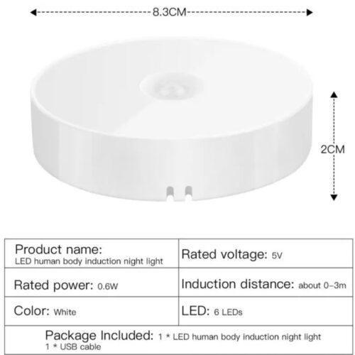 Lampa led portabila senzor mișcare integrat alimentare USB