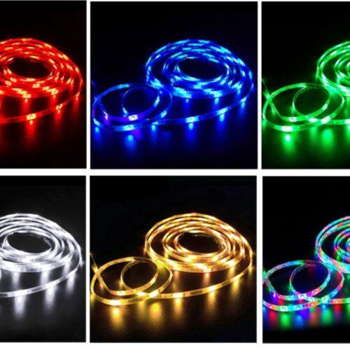 Banda LED dublu-adeziva telecomanda lumina RGB 5m