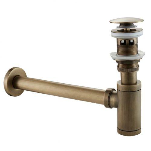Sifon evacuare lavoar antichizat bronz ventil scurgere – 2 piese