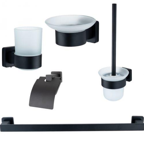 Set accesorii baie negru mat alama AGS5